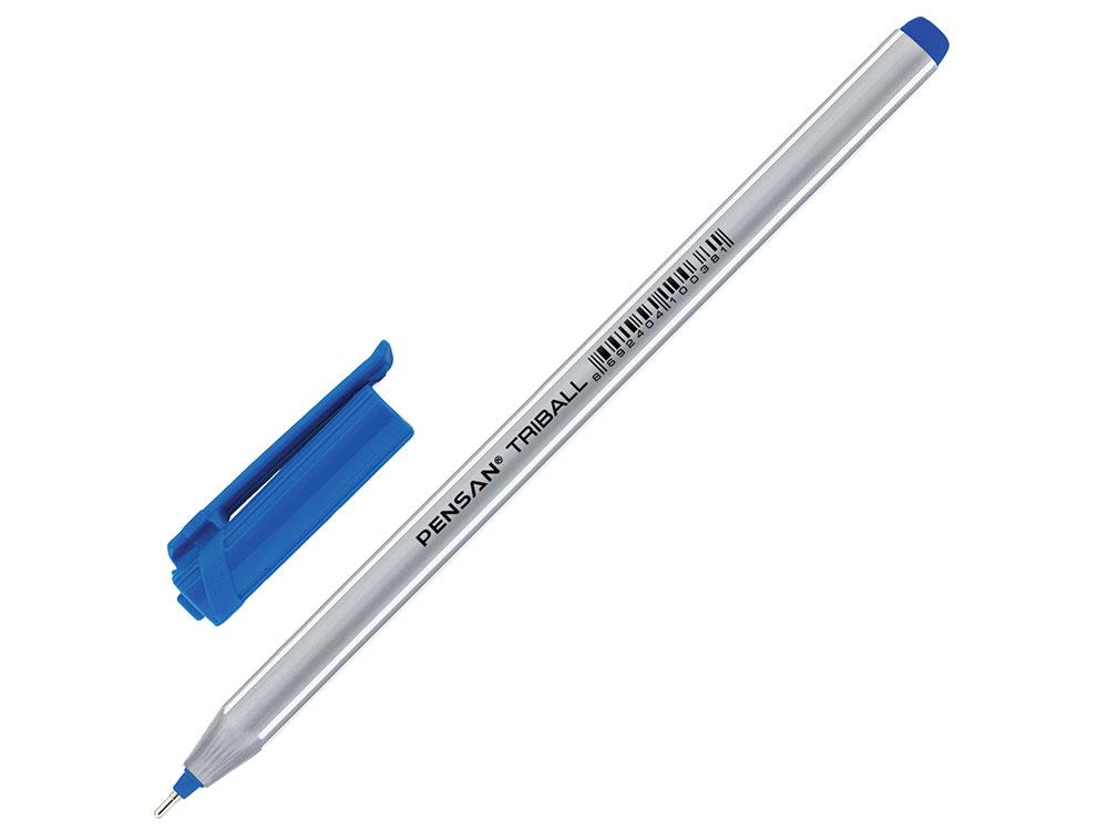 Ручка шариковая масляная PENSAN Triball, трехгранная, узел 1 мм, линия 0,5 мм, синяя масляная шариковая ручка brauberg max oil красный