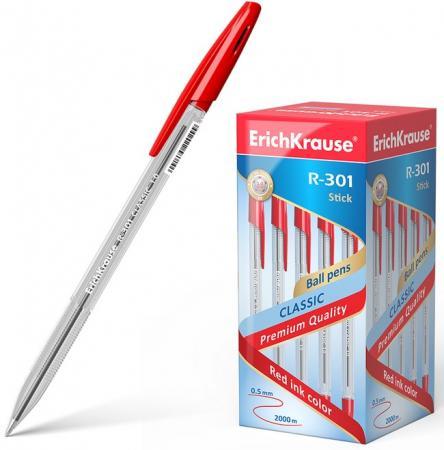 Набор шариковых ручек Erich Krause R-301 Classic Stick 50 шт красная, корпус прозрачный, узел 1 мм, линия письма 0,5 мм erich krause набор гелевых ручек r 301 original 3 шт 42723