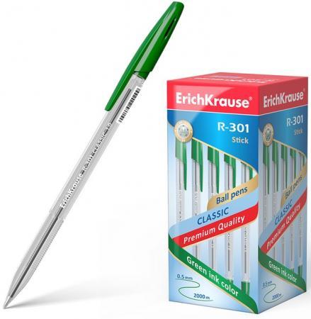 Ручка шариковая ERICH KRAUSE R-301 Classic, корпус прозрачный, узел 1 мм, линия 0,5 мм, зеленая erich krause набор гелевых ручек r 301 original 3 шт 42723