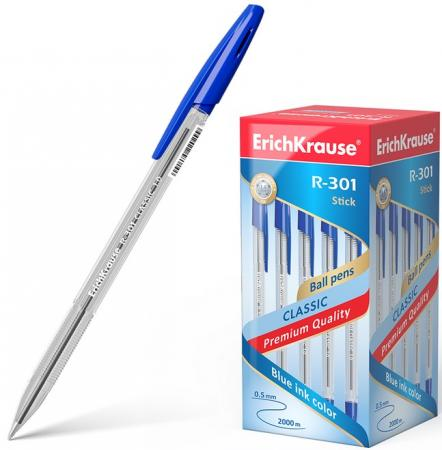 Ручка шариковая ERICH KRAUSE R-301 Classic, корпус прозрачный, узел 1 мм, линия 0,5 мм, синяя erich krause набор гелевых ручек r 301 original 3 шт 42723