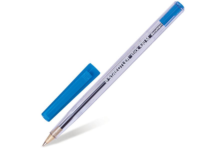 Ручка шариковая STAEDTLER Stick Document, корпус прозрачный, узел 1,2 мм, линия 0,5 мм, синяя ручка капиллярная staedtler triplus broadliner 338 box338 30 цвет чернил голубой 10 шт