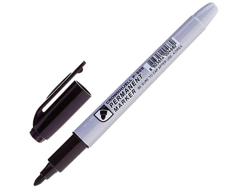Маркер перманентный (нестираемый) CROWN Multi Marker Slim, черный, круглый наконечник, 2 мм