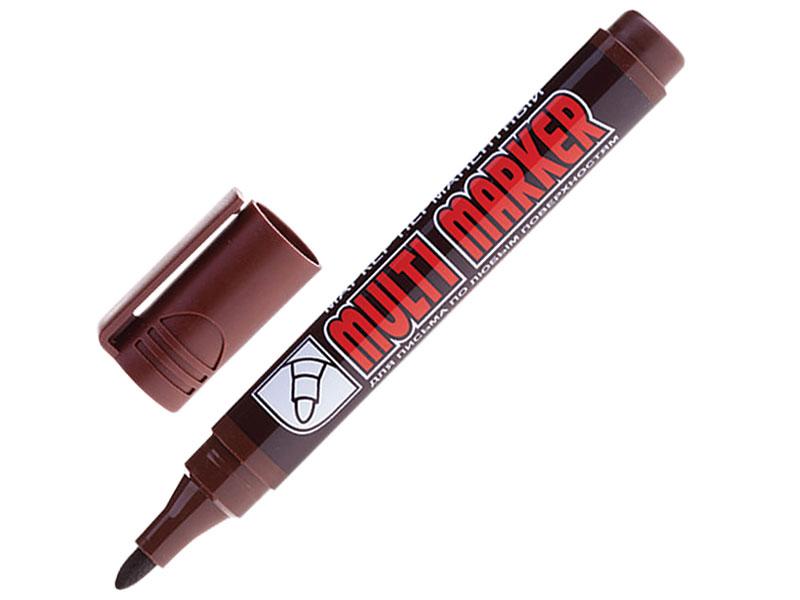 Маркер перманентный (нестираемый) CROWN Multi Marker, коричневый, скошенный наконечник, 3 мм, CPM-