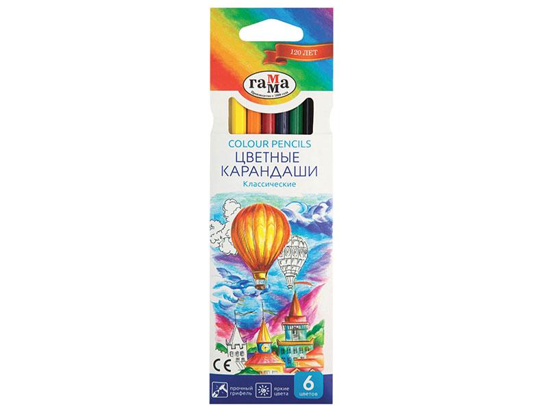 Карандаши цветные ГАММА Классические, 6 цветов, заточенные, шестигранные, картонная упаковка цветные карандаши colorun ec00360 6 цветов