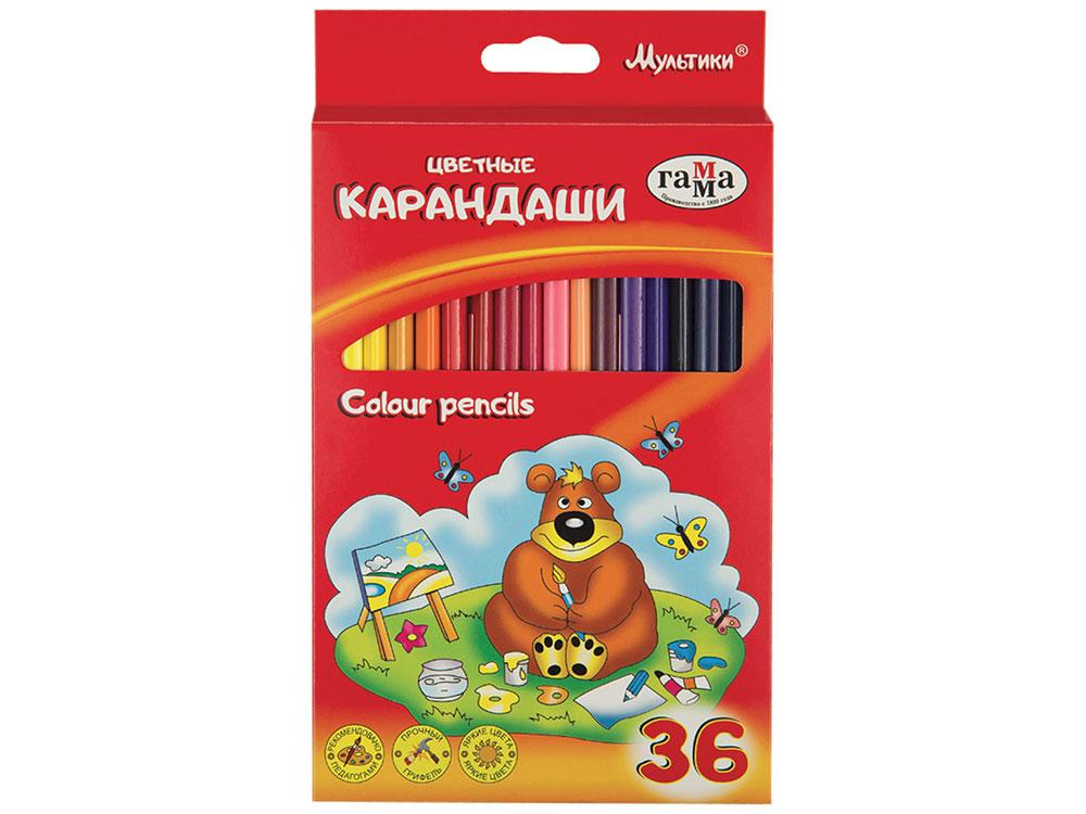 Карандаши цветные ГАММА Мультики, 36 цветов, заточенные, трехгранные, картонная упаковка цена