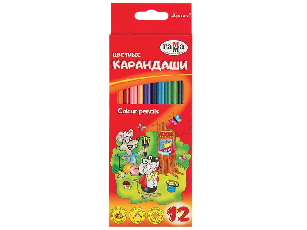 Карандаши цветные ГАММА Мультики, 12 цветов, заточенные, трехгранные, картонная упаковка цена