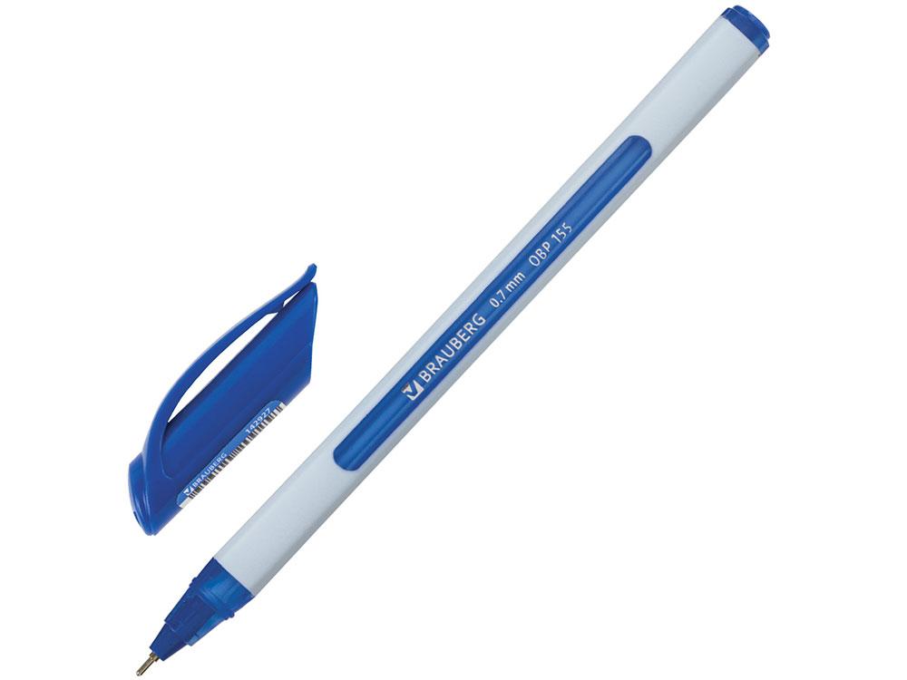 Ручка шариковая масляная BRAUBERG Extra Glide Soft White, синяя, узел 0,7 мм, линия письма 0,35 мм шариковая ручка автоматическая brauberg extra glide r grip grey синий 0 35 мм obpr164
