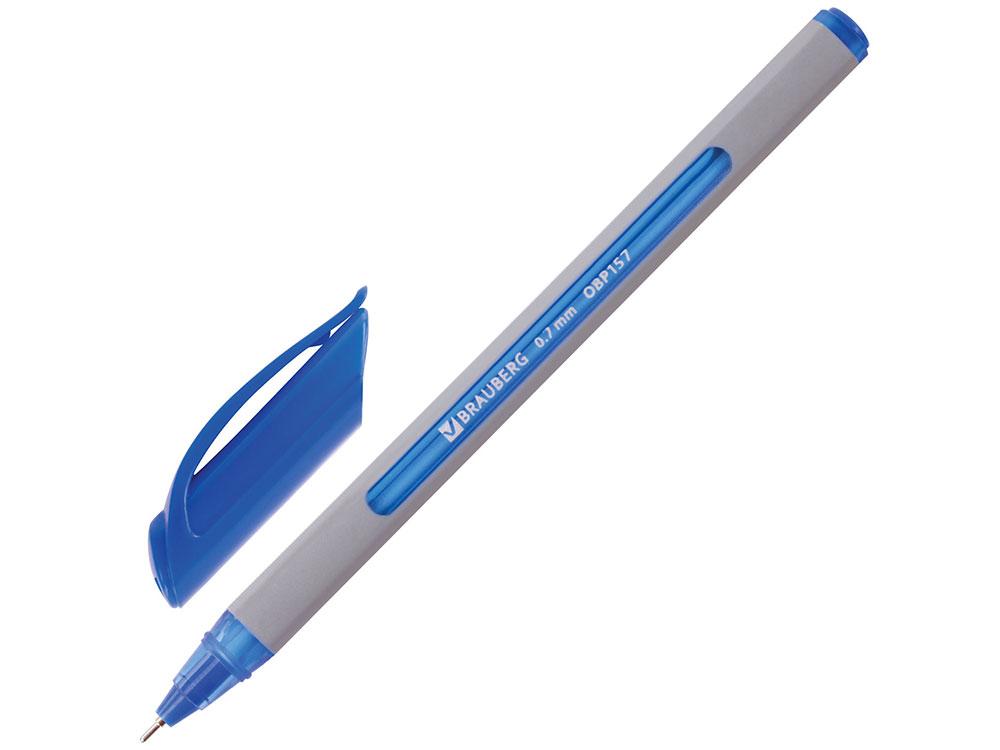 Ручка шариковая масляная BRAUBERG Extra Glide Soft Grey, синяя, узел 0,7 мм, линия письма 0,35 мм ручка шариковая масляная brauberg extra glide gt tone синяя узел 0 7 мм линия письма 0 35 мм