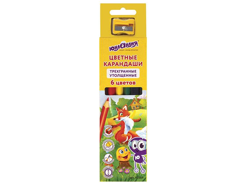 Карандаши цветные утолщенные ЮНЛАНДИЯ СКАЗОЧНЫЙ МИР, 6 цветов, трехгранные, с точилкой цветные карандаши colorun ec00360 6 цветов