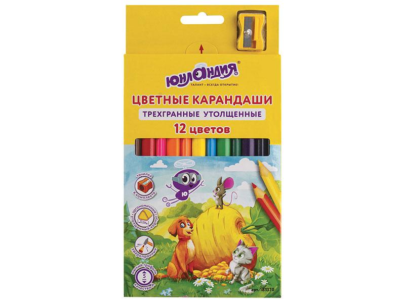Карандаши цветные утолщенные ЮНЛАНДИЯ СКАЗОЧНЫЙ МИР, 12 цветов, трехгранные, с точилкой цена