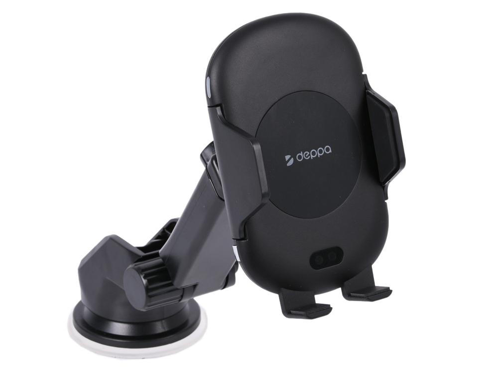 цена на Автомобильный держатель Deppa 55156 Crab IQ черный для смартфонов 4-6.5, беспроводная зарядка