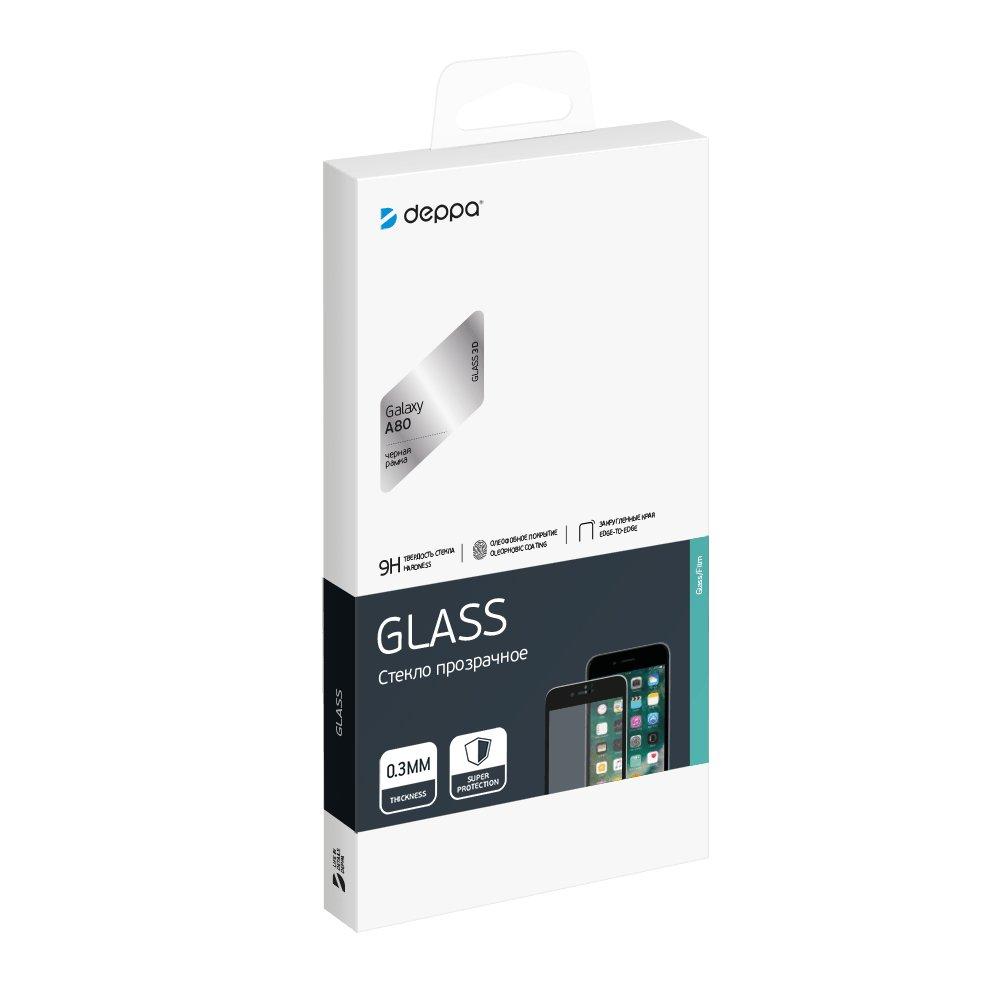 Защитное стекло 3D Deppa Full Glue для Samsung Galaxy A80 (2019), 0.3 мм, черная рамка все цены