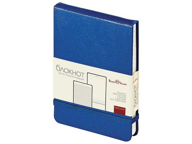 Бизнес-Блокнот А6, 100 л., твердая обложка, балакрон, открытие вверх, Bruno Visconti, Синий блокнот рецепты успешного уверенный синий