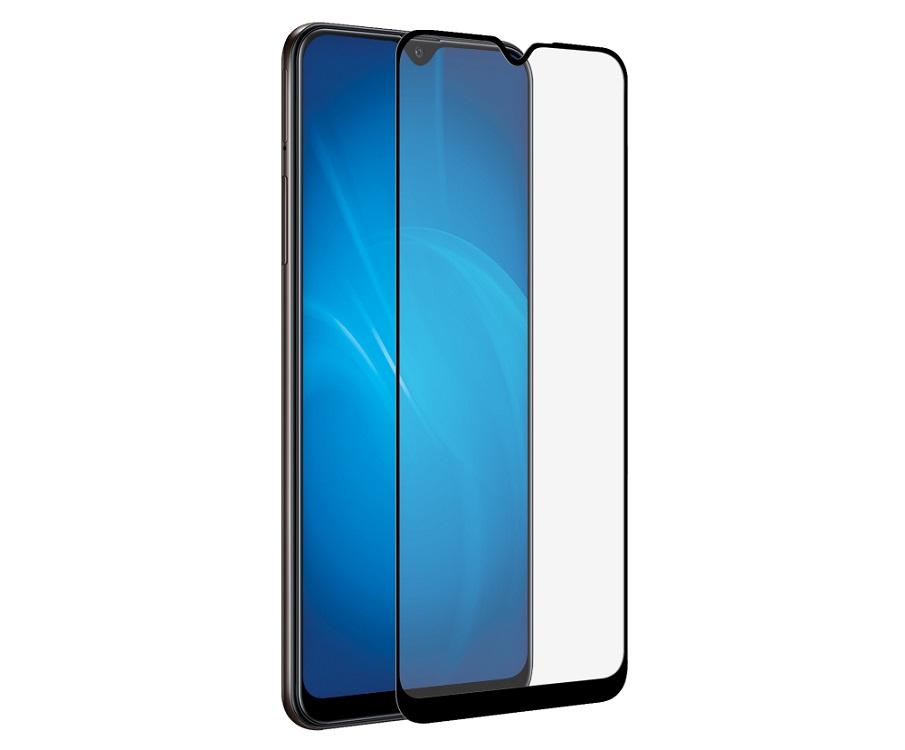 Закаленное стекло с цветной рамкой DF sColor-84 black (fullscreen) для Samsung Galaxy A20s