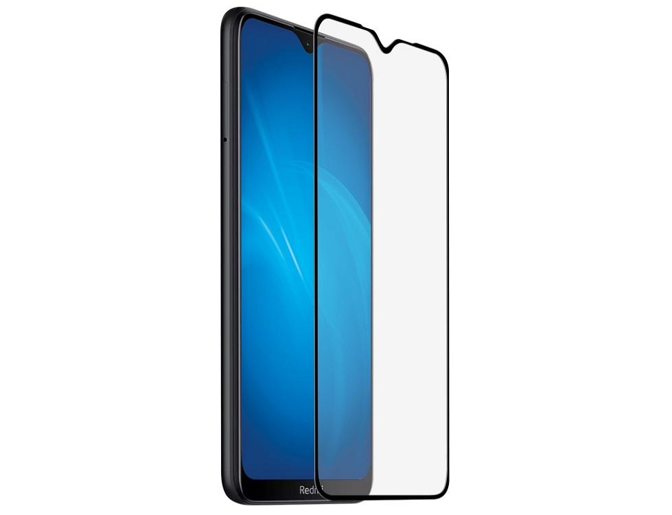 Закаленное стекло с цветной рамкой DF xiColor-72 black (fullscreen+fullglue) для Xiaomi Redmi 8/Redmi 8A фото