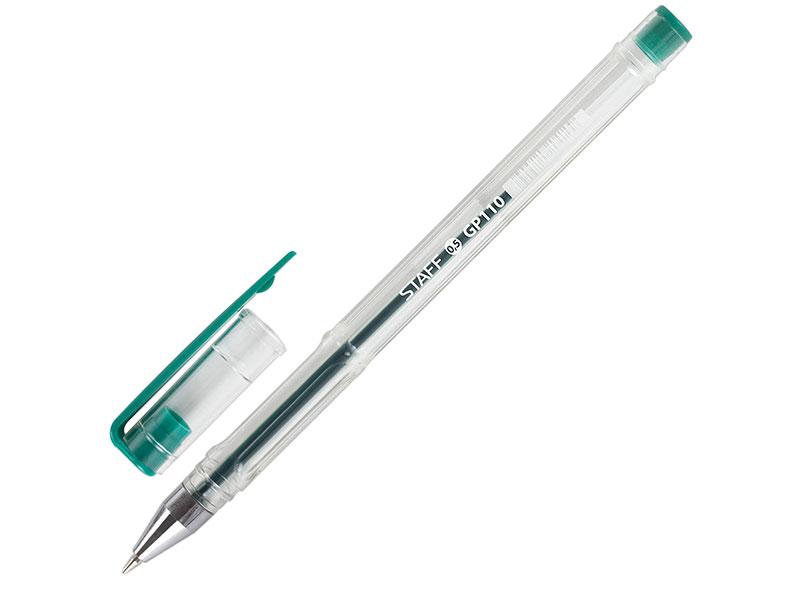 Ручка гелевая STAFF, ЗЕЛЕНАЯ, корпус прозрачный, хромированные детали, узел 0,5 мм, линия письма 0,35 мм