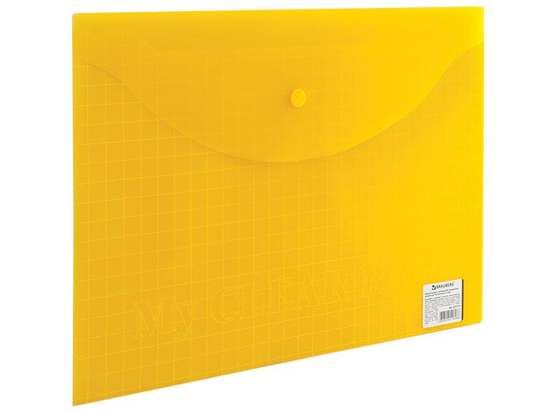 Папка-конверт с кнопкой BRAUBERG My CLEAR BAG, А4, 150 мкм, до 100 листов, прозрачная, ассорти папка конверт с кнопкой staff а4 120 мкм до 100 листов прозрачная желтая 226031