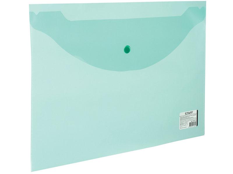 Папка-конверт с кнопкой STAFF, А4, 120 мкм, до 100 листов, прозрачная, зеленая, 225171 папка конверт с кнопкой staff а4 120 мкм до 100 листов прозрачная желтая 226031