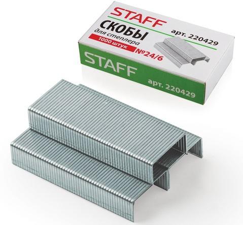 Скобы для степлера STAFF № 24/6 1000 шт 220429 скобы bosch для строительного степлера тип t53 6 мм 1000 шт