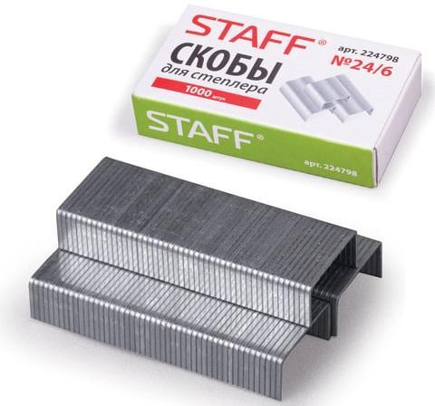 Скобы для степлера STAFF № 24/6 1000 шт 224798 скобы bosch для строительного степлера тип t53 6 мм 1000 шт