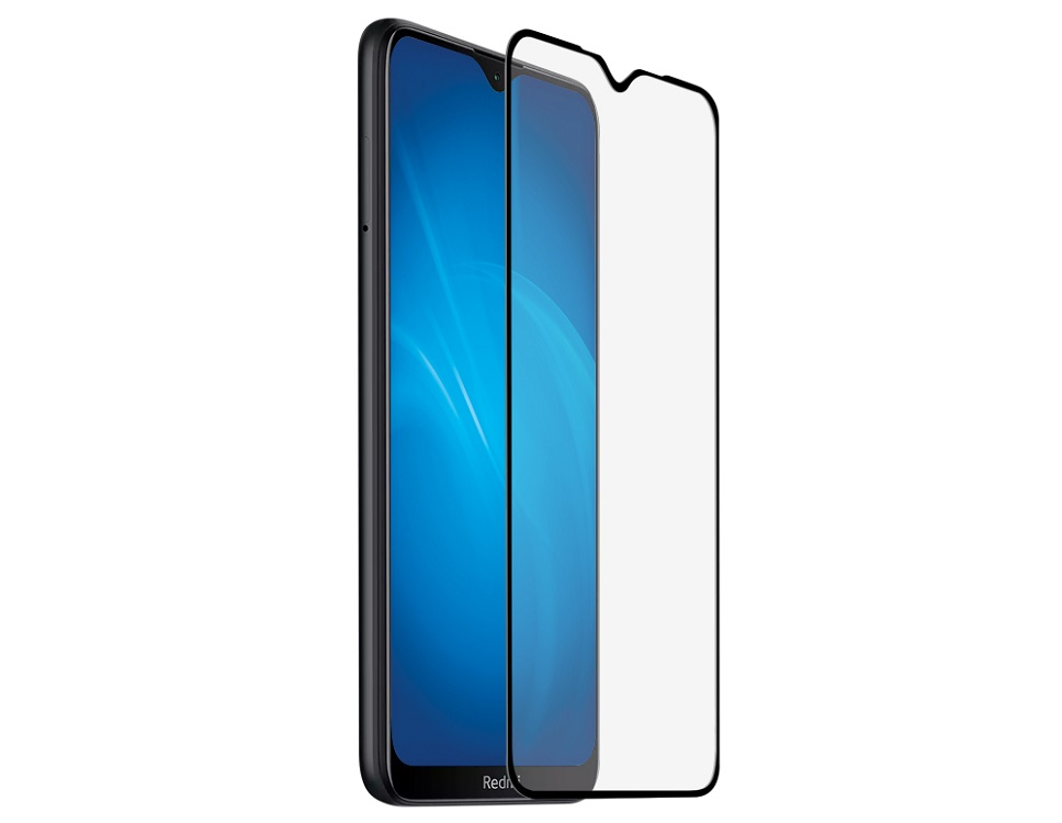 Закаленное стекло с цветной рамкой (fullscreen+fullglue) для Xiaomi Redmi Note 8T DF xiColor-74 (black) фото