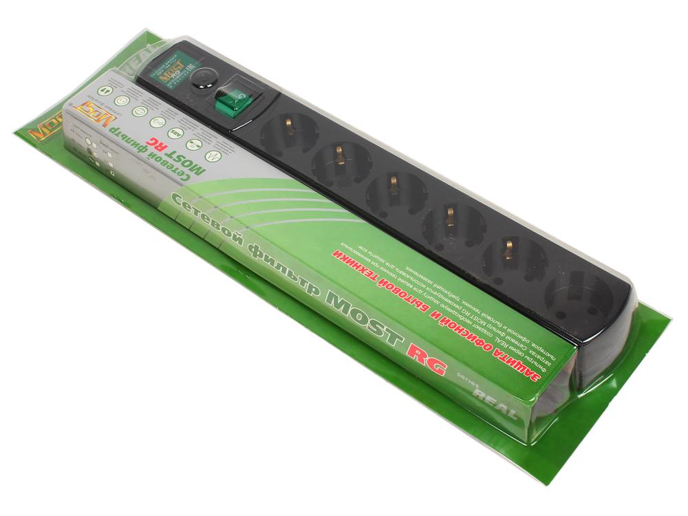 Сетевой фильтр Most Real RG 5м черный 6 розеток сетевой фильтр most rg 2м 6 розеток черный