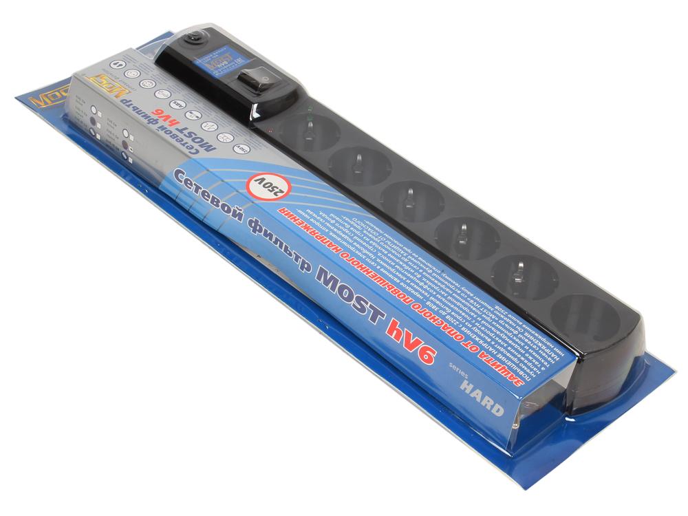 Сетевой фильтр Most Hard HV6 5м черный 6 розеток  - купить со скидкой