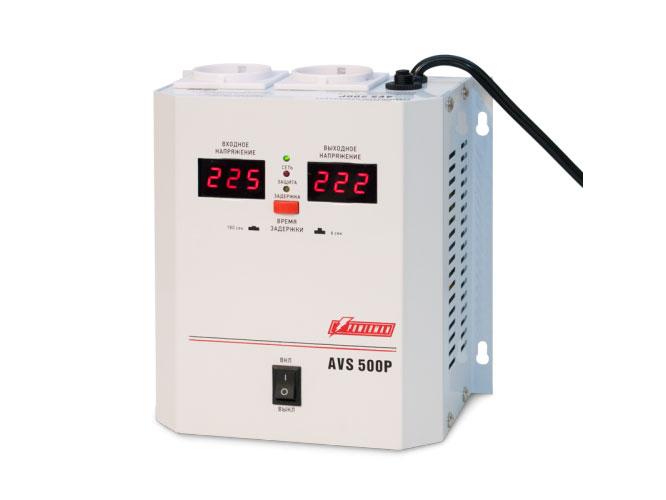 цена на Стабилизатор напряжения Powerman AVS 500P 2 розетки белый