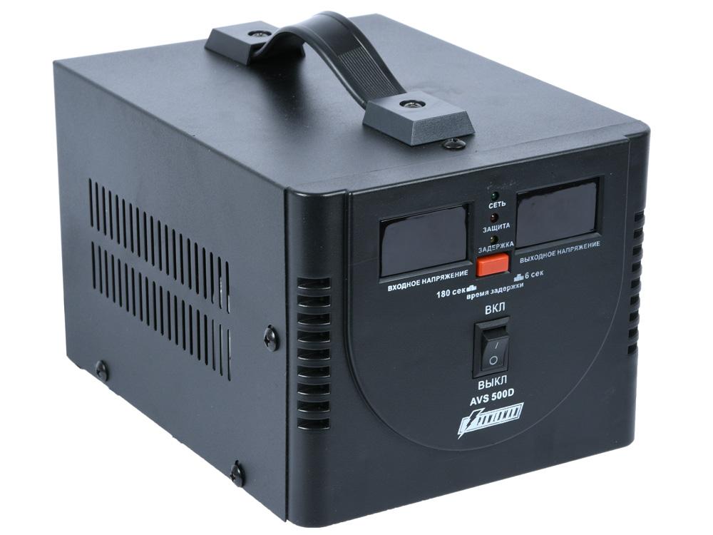 цена на Стабилизатор напряжения Powerman AVS-1000D 2 розетки черный