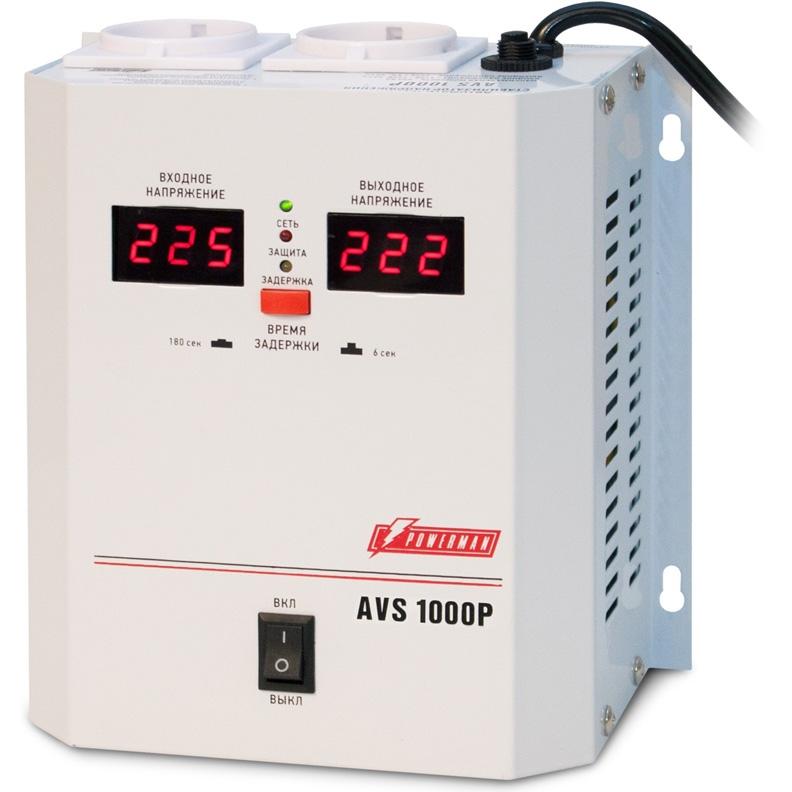 цена на Стабилизатор напряжения Powerman AVS-1000P 1000VA белый