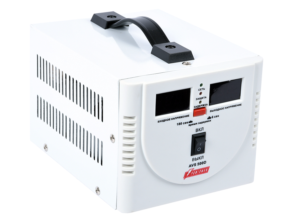 цена на Стабилизатор напряжения Powerman AVS 500D 2 розетки белый