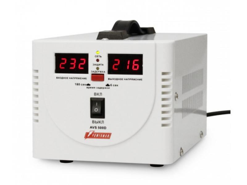 Стабилизатор напряжения Powerman AVS 500D 2 розетки белый недорого