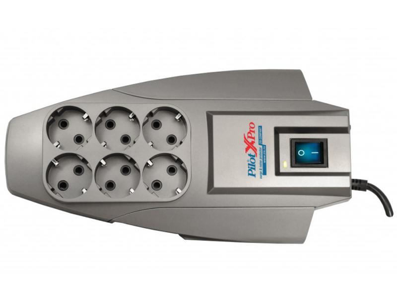 Сетевой фильтр ZIS Pilot X-Pro 6 розеток 1.8 м серый сетевой фильтр zis pilot l белый 6 розеток 1 8 м