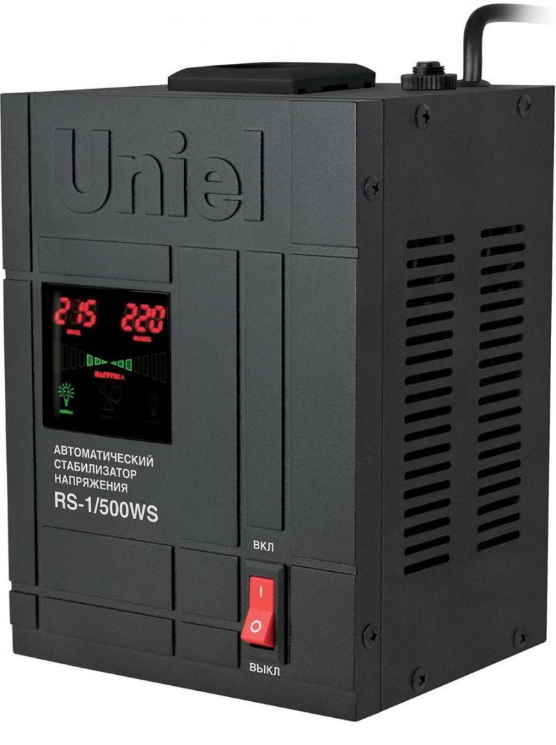 Стабилизатор напряжения Uniel RS-1/500WS 1 розетка черный 07378 цена