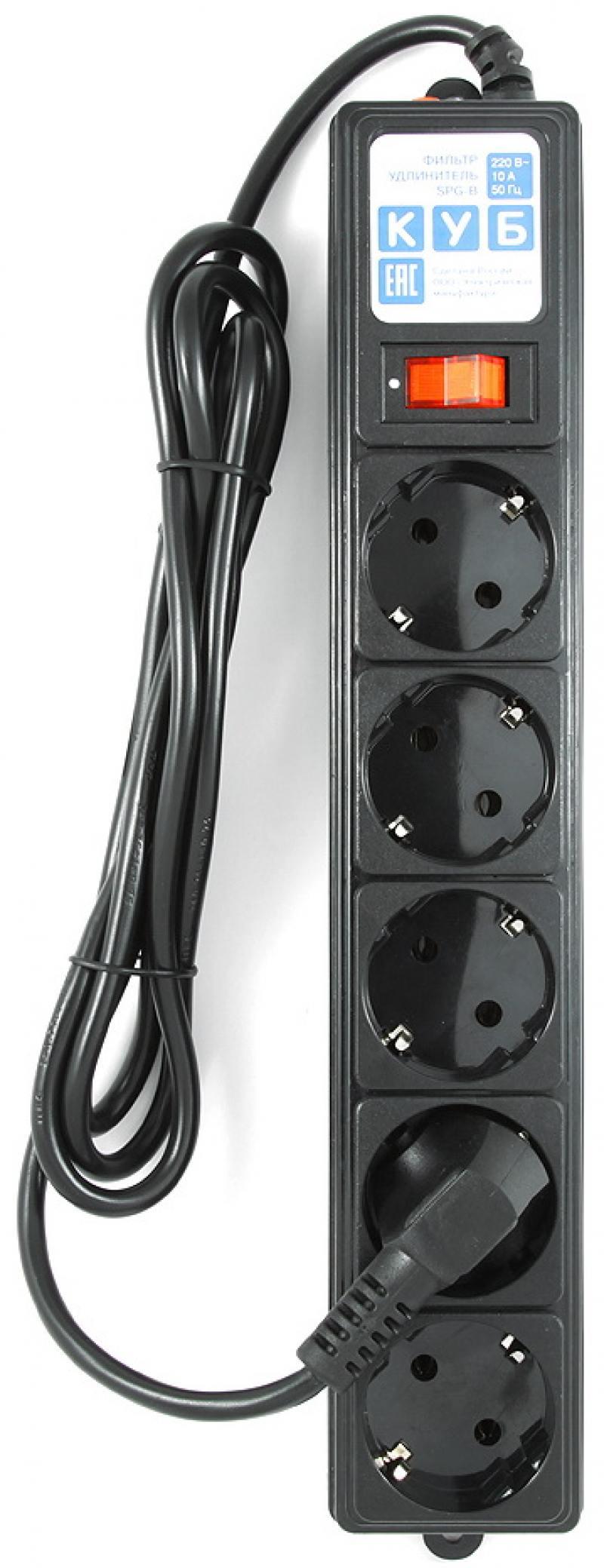 Сетевой фильтр Power Cube SPG-B-6 5 розеток 1.9 м черный