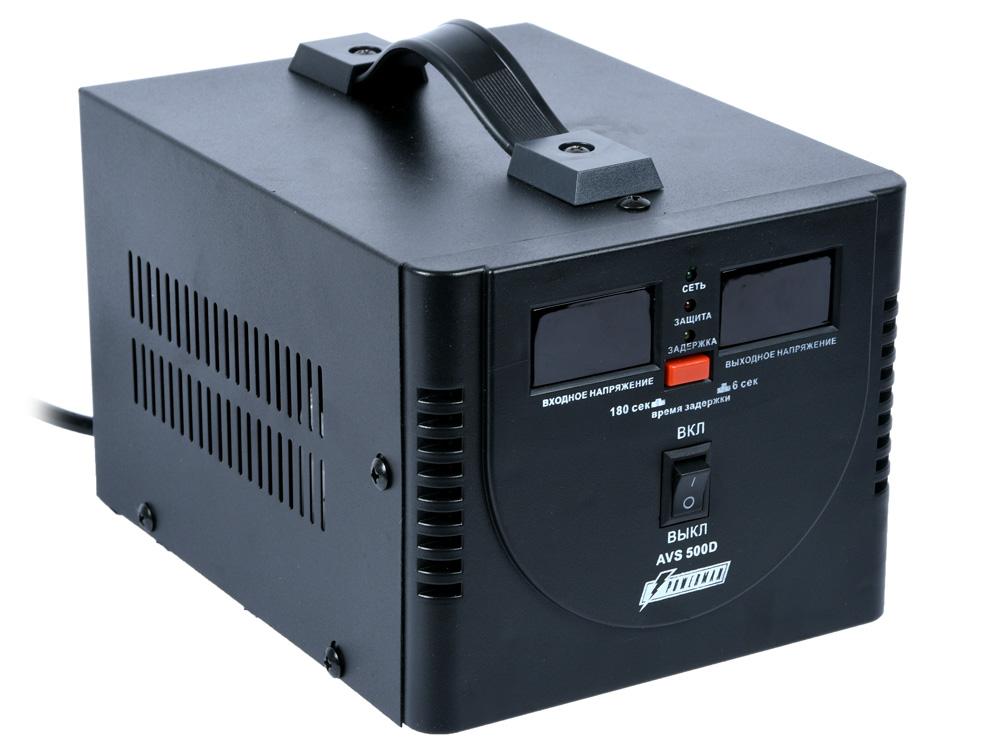 цена на Стабилизатор напряжения Powerman AVS 500D 2 розетки черный 500 ВА