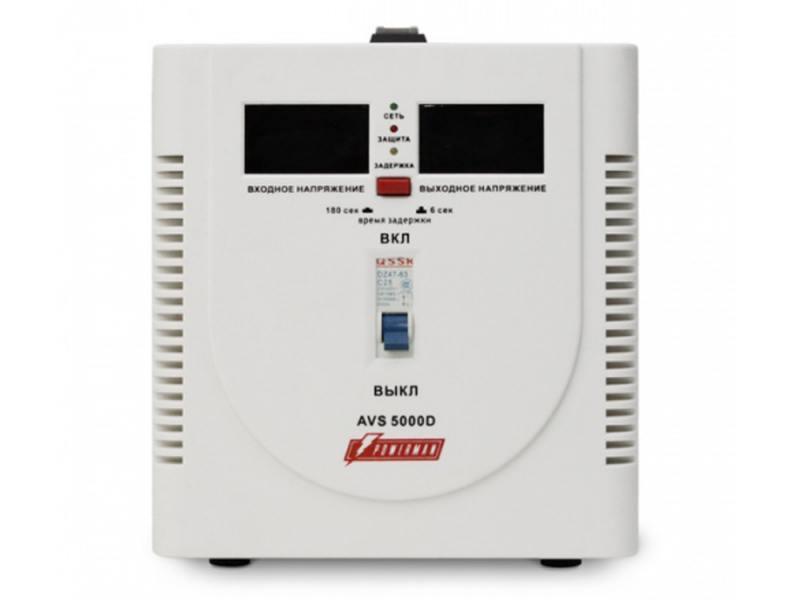 Стабилизатор напряжения Powerman AVS 5000D 1 розетка белый стабилизатор напряжения powerman avs 500s 1 розетка серый