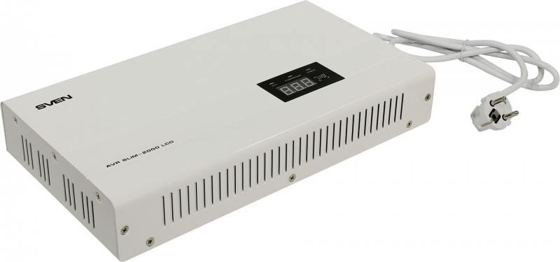 Стабилизатор напряжения Sven AVR Slim-2000 LCD 2 розетки белый