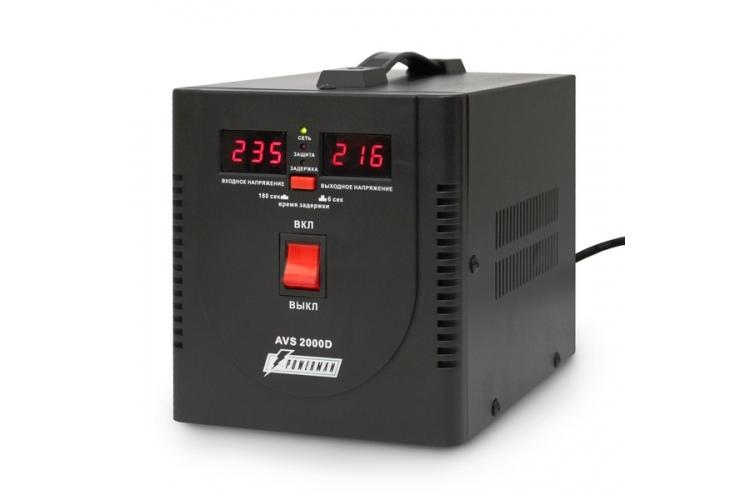 Стабилизатор напряжения Powerman AVS 2000D 2 розетки черный стабилизатор напряжения powerman avs 2000d черный 2 розетки