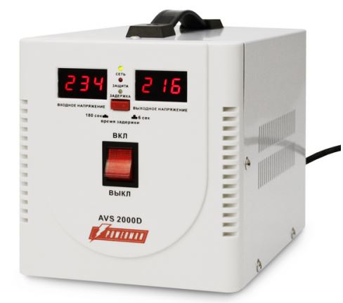 Стабилизатор напряжения Powerman AVS-2000D 2 розетки белый стабилизатор напряжения powerman avs 2000d черный 2 розетки