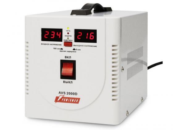 Стабилизатор напряжения Powerman AVS-2000D 2 розетки белый цена