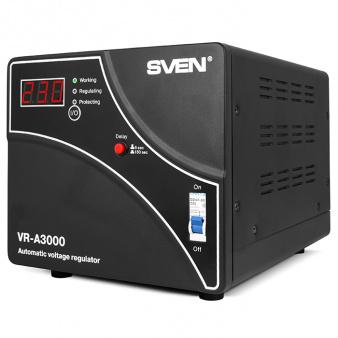 цена Стабилизатор SVEN VR-A3000, Relay, 3000VA, 1800W, 140-275v, output terminals, black онлайн в 2017 году