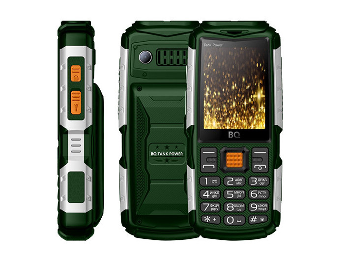 Мобильный телефон BQ-2430 Tank Power Green silver 32MB / 32MB / 2.4 240x320 / 2Sim / 2G / BT / 0.3Mp