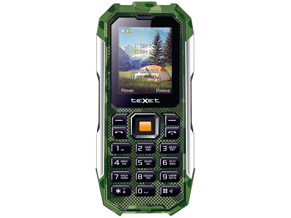 Мобильный телефон TEXET TM-518R Green 32 Mb/2. (220x176)/DualSim мобильный телефон texet tm b220 черный красный 1 77 32 мб