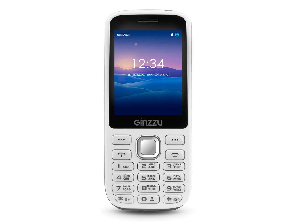 Телефон GINZZU M201 (White/Gray) 2.4 240x320 / 2SIM / GPRS / 1.3 Mp / Flash / MP3 / FM / BT