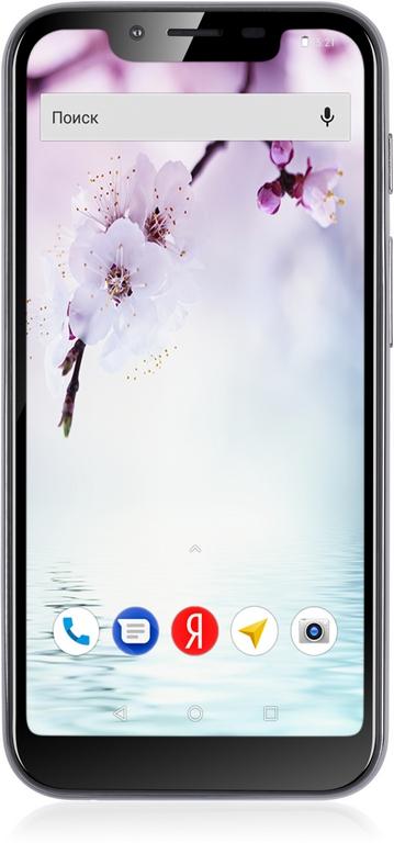 Смартфон Fly View Max Graphite MediaTek MT6739 (1.3)/16 Gb/2 Gb/5.5 (1132x540)/DualSim/3G/4G/BT/Android 8.1 смартфон prestigio grace p7 psp7570duoblue blue mediatek mt6737 1 3 2 gb 16 mb 5 7 1440x720 dualsim 3g 4g bt android 7 0