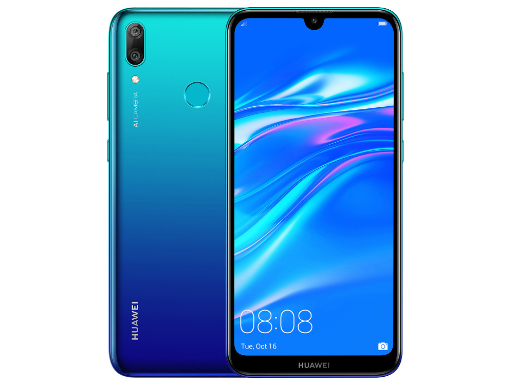 Смартфон Huawei Y7 2019 (Aurora Blue) Snapdragon 450 (1.8) / 3GB / 32GB / 6.26 1520x720 IPS / 2Sim / 3G / 4G LTE / 13Mp + 2Mp, 8Mp / Android 8.1 смартфон bq 5700l space x black qualcomm snapdragon 430 1 4 3gb 32gb 5 7 1440х720 ips 2sim 4g lte fpr 16mp 20 8mp cam android 7 1