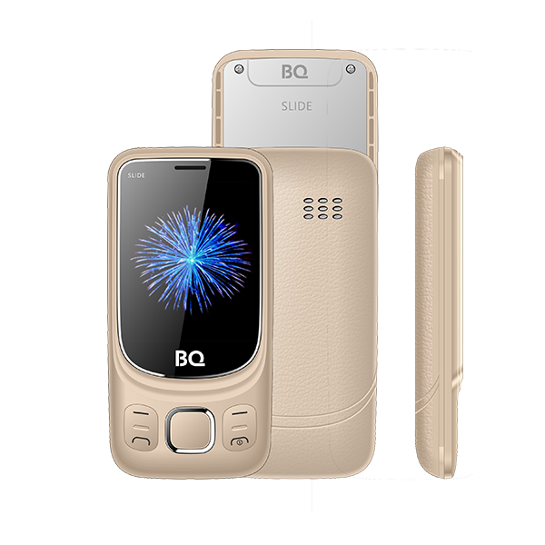 Мобильный телефон BQ-2435 Slide Gold 32MB / 32MB / 2.4 240x320 / 2Sim / 2G / BT / 0.3Mp мобильный телефон texet tm 501 red 2 8 240x320 2g 3g bt 0 3mp