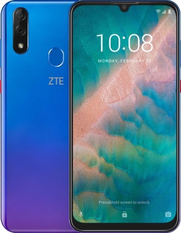 Смартфон ZTE Blade V10 (4+64) SHINING AMETHYST Blue/purple MediaTek Helio P60 (2.1)/4 Gb/64 Gb/6.3 (2280 x 1080)/DualSim/LTE/NFC/BT/Android 9.0 lileng 821 usb powered 3 blade 2 mode fan black 4 x aa