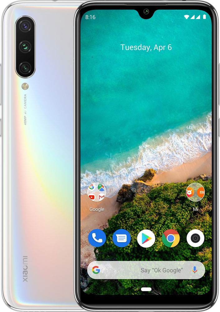 "Смартфон Xiaomi Mi A3 More than White(M1906F9SH) Qualcomm Snapdragon 665 (2.0)/4 Gb/64 Gb/6.088"" (1560 x 720)/DualSim/LTE/NFC/BT/Android 9.0"